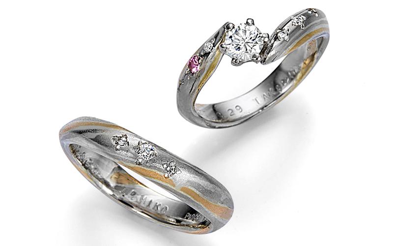 二人で作る木目金結婚指輪